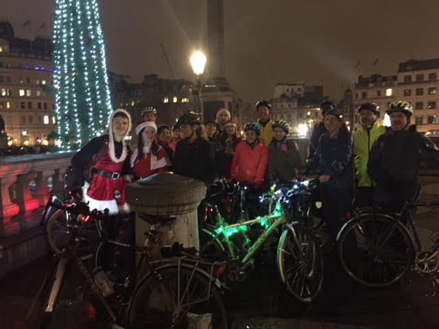 group of cyclists on xmas lights ride