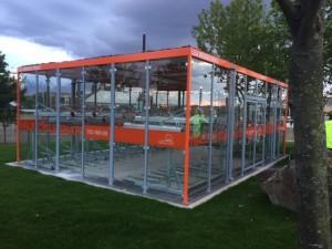 glass building for bike parking